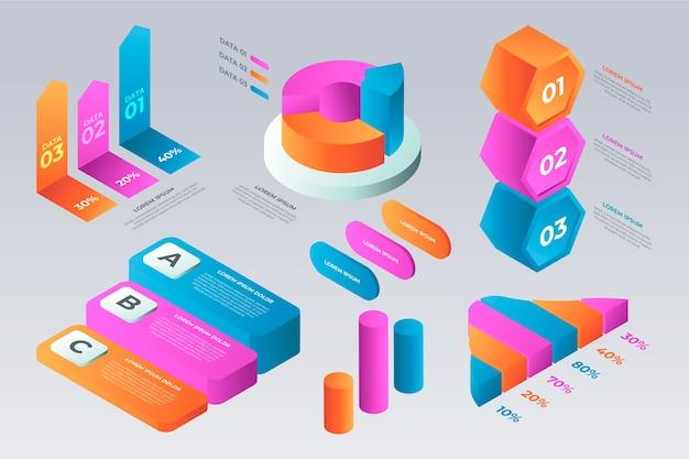 여러 색상의 아이소 메트릭 infographic 템플릿 무료 벡터