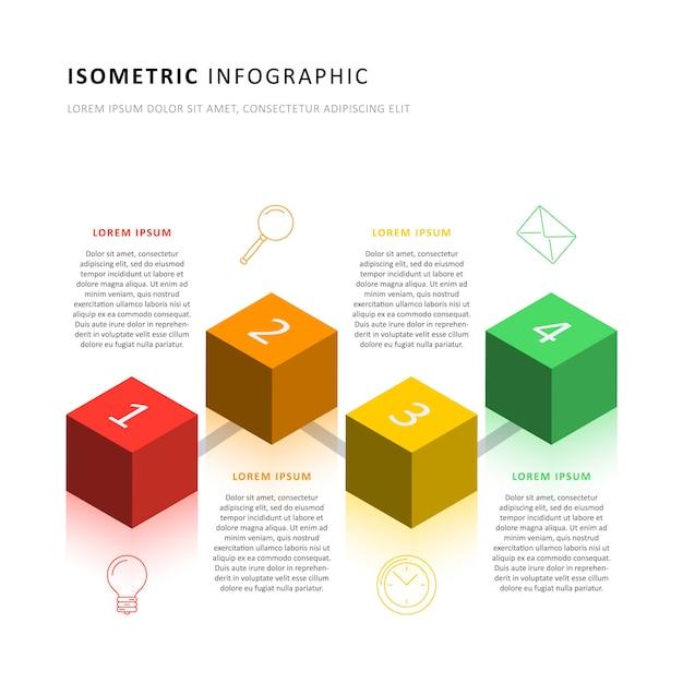 Шаблон изометрические инфографики сроки с реалистичными 3d кубических элементов. современная схема бизнес-процесса для брошюры, баннера, годового отчета и презентации. Premium векторы