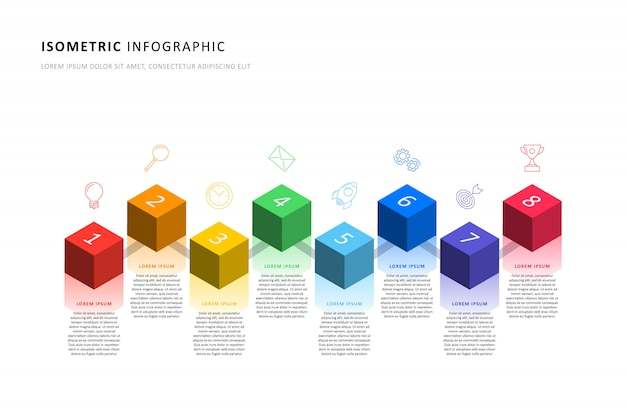 Isometric infographic timeline template with realistic 3d cubic elements Premium Vector