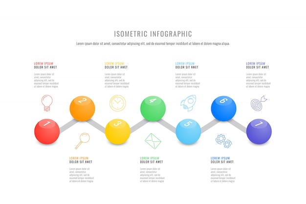 Isometric infographic timeline template with realistic 3d round elements Premium Vector