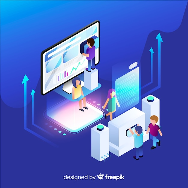 Isometric infographic with charts and people Free Vector