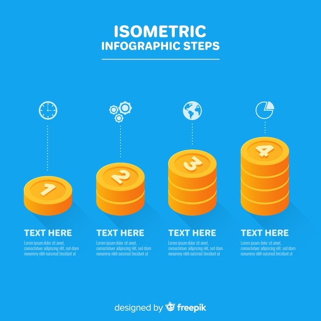 Isometric infographic with steps Free Vector