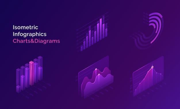 Изометрические инфографики набор диаграмм и диаграмм Бесплатные векторы
