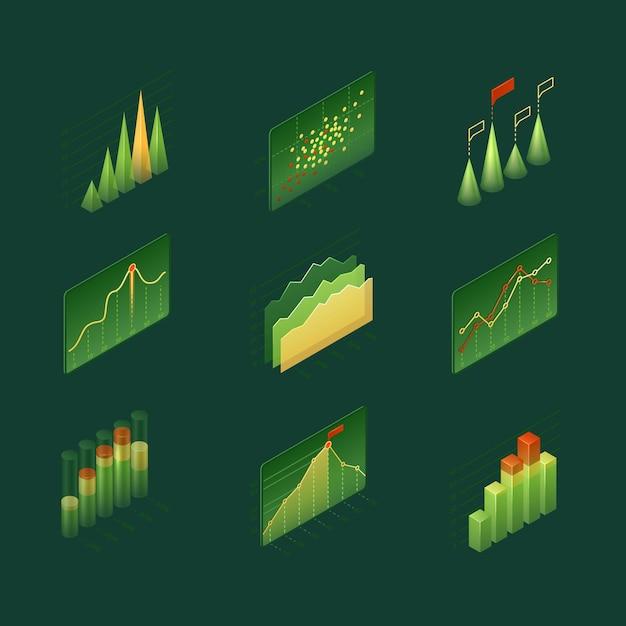 Изометрические инфографические диаграммы и диаграммы Бесплатные векторы