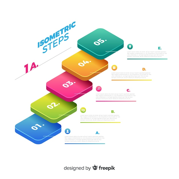Isometric infographics steps background Free Vector