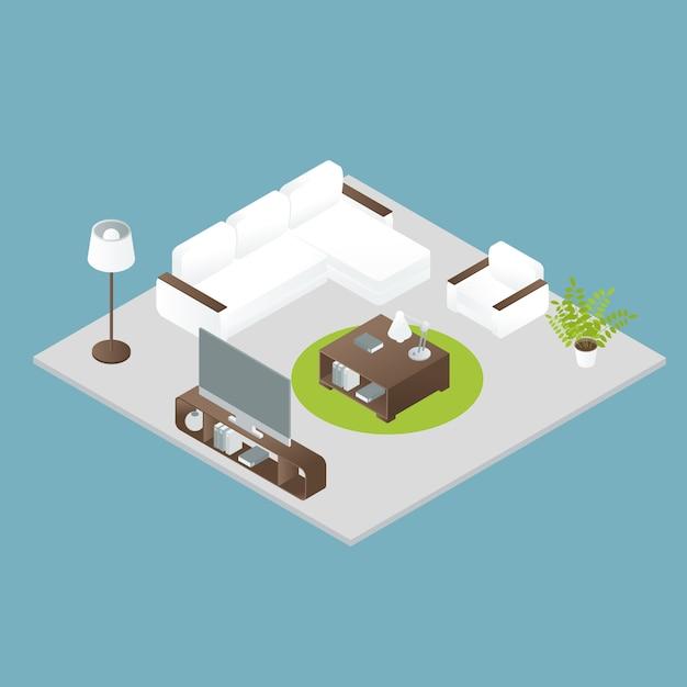 Interior design isometrico Vettore gratuito