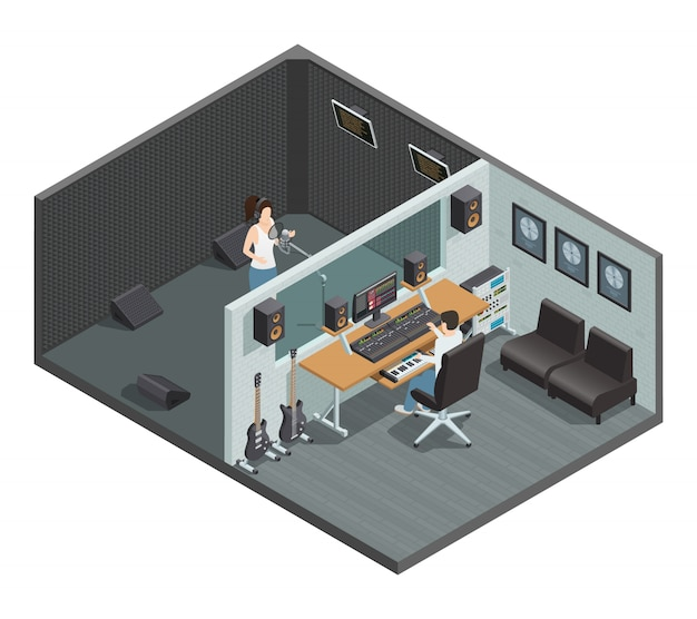 Isometric interior of music studio with soundproof booth for vocal recording control room and people Free Vector