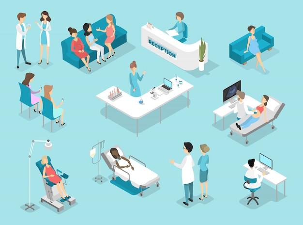 婦人科手順の等尺性インテリア:検査室と待合室での検査。病院で女性患者を治療する医師と看護師。フラットイラスト Premiumベクター