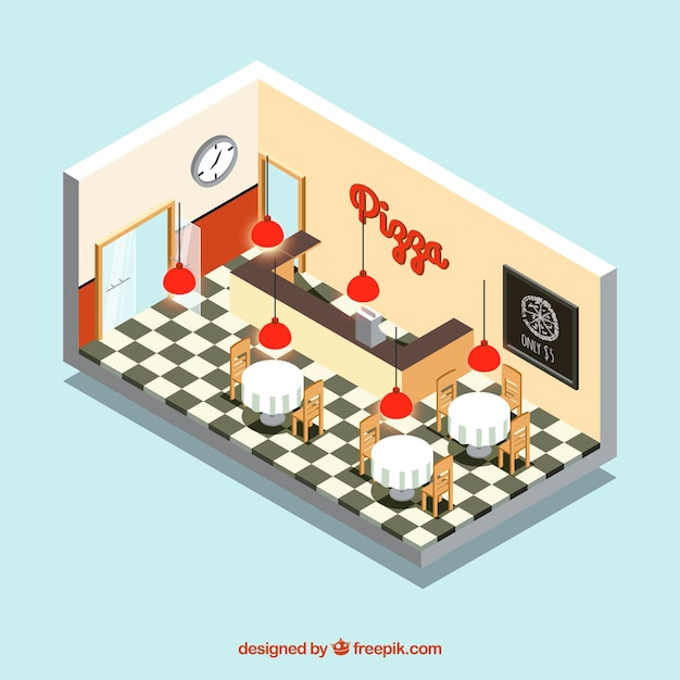 Isometric interior pizza restaurant