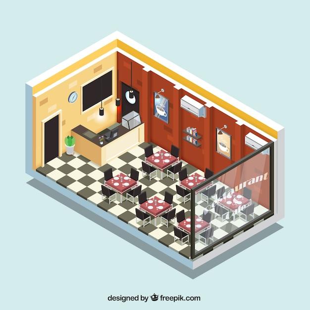 Isometric interior restaurant vector free download