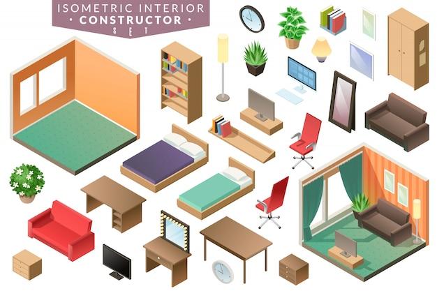 Изометрические интерьер комнаты мебель в коричневой гамме с кроватями офисный стул стол тв зеркало шкаф для одежды растений и другие элементы интерьера на белом фоне Premium векторы