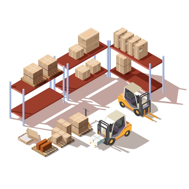 Isometric interior of warehouse with forklift Free Vector