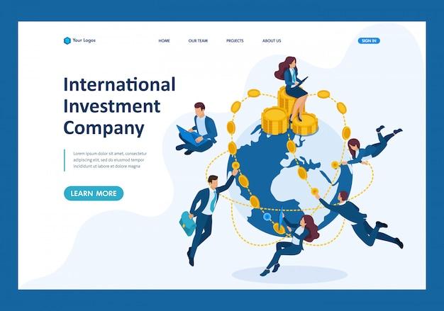 Isometric international investment company, businessmen fly around the world Premium Vector