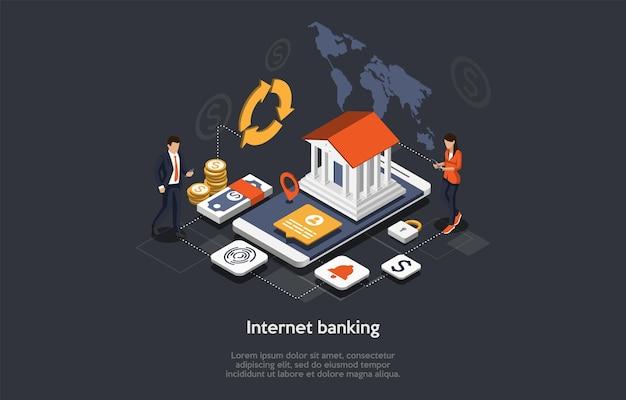 等尺性インターネットバンキングの概念。人々はモバイルバンキングアプリケーションを使用しています。オンライン決済セキュリティトランザクション。ビジネスキャラクターはオンラインで送金し、支払いを行います。漫画のベクトルイラスト。 Premiumベクター