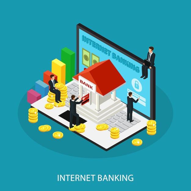 Концепция обслуживания изометрические интернет-банкинг Бесплатные векторы