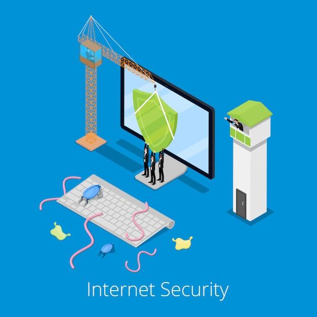 コンピューターの保護と等尺性のインターネットセキュリティとデータ保護の概念 Premiumベクター