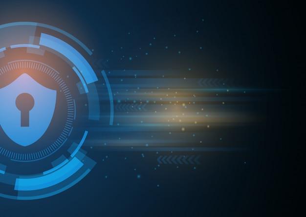 Isometric internet security lock business concept. Premium Vector