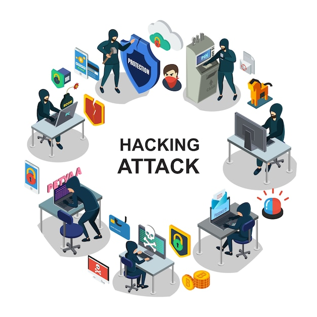 Isometric internet security round composition with hackers computer mobile servers laptop atm payment card hacking siren trojan bomb shields Free Vector