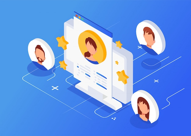 Isometric interview with the candidate, freelance, employment, recruitment Premium Vector