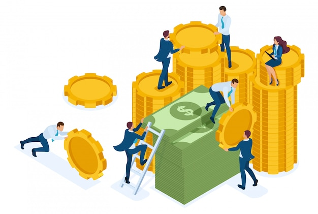 Isometric investment growth, investors carry money to the bank. Premium Vector
