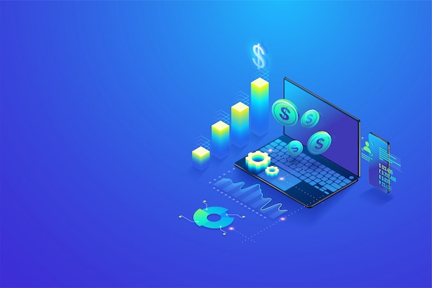Isometric investment and virtual finance Premium Vector