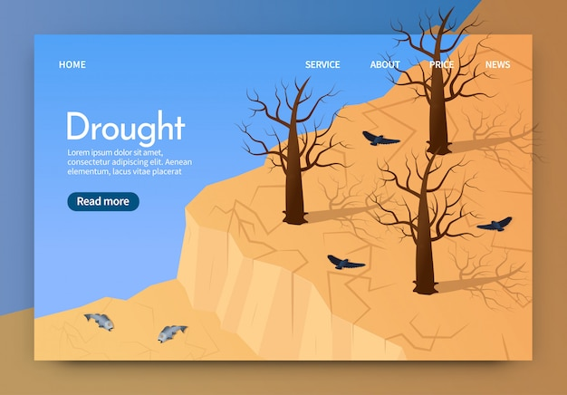 Isometric is written drought landing page 3d. Premium Vector