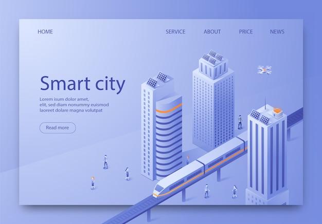 Isometric is written smart city landing page. Premium Vector