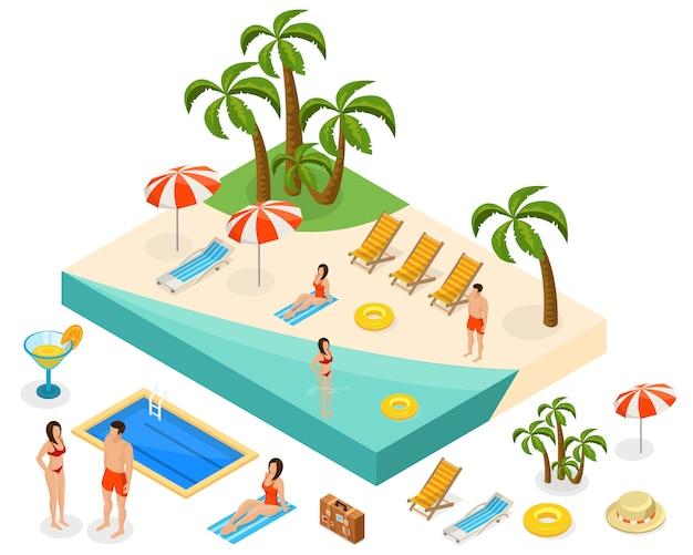Изометрические остров путешествия концепция Бесплатные векторы