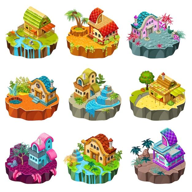 Изометрические острова с коттеджами. Бесплатные векторы