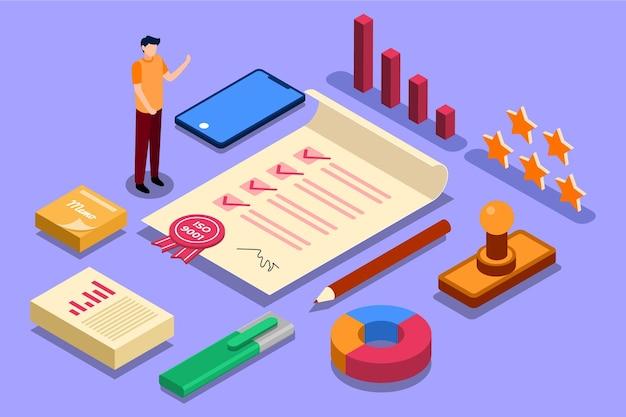 Isometric iso certification concept Free Vector