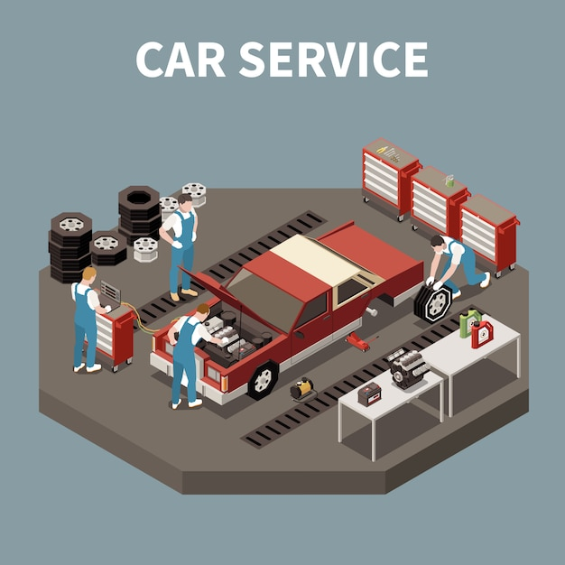 Isometric and isolated car service composition with two workers and car repair  illustration Free Vector