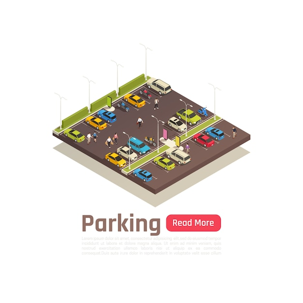 Isometric and isolated city composition banner with parking description and read more button vector illustration Free Vector