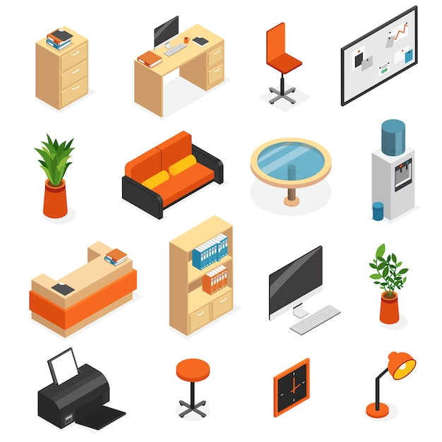 Isometric isolated office furniture icon set with couch lamp computer table chair wardrobe vector illustration Free Vector