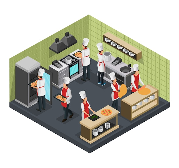Isometric italian restaurant cooking room template with professional cooks preparing pizza isolated Free Vector