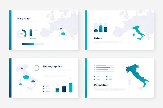 Изометрические карта италии инфографики Бесплатные векторы