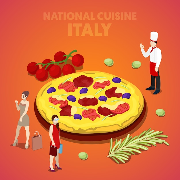 Isometric italy national cuisine with pizza and cook. vector 3d flat illustration Premium Vector