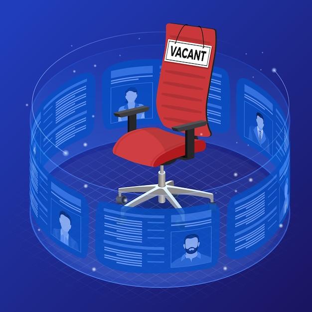 等尺性の職業紹介所の雇用、人的資源、履歴書および雇用の概念。柔軟な透明スクリーンで欠員の応募者を再開します。看板が空いているオフィスチェア。 Premiumベクター