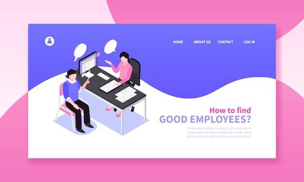 Isometric job search recruitment horizontal banner composition with website page design clickable links and human characters Free Vector