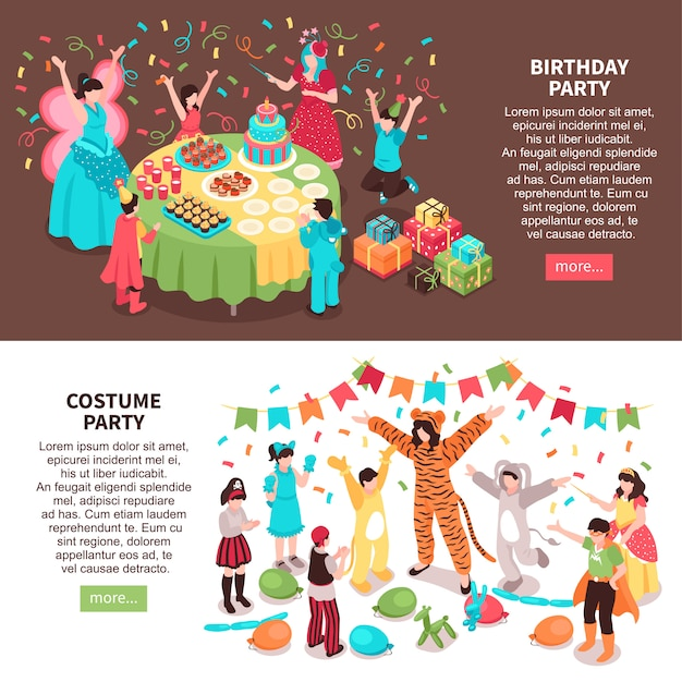 Isometric kids animator horizontal banners set with children characters and entertainers in festive costumes with text Free Vector