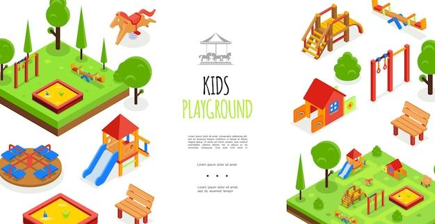 Изометрические детская площадка красочный шаблон Бесплатные векторы