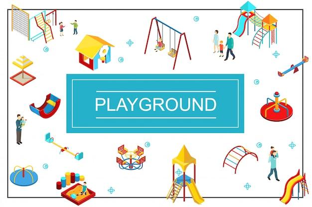 Изометрическая детская игровая площадка с качелями, качелями, песочницей, горками, разноцветными барами для родителей и детей Бесплатные векторы