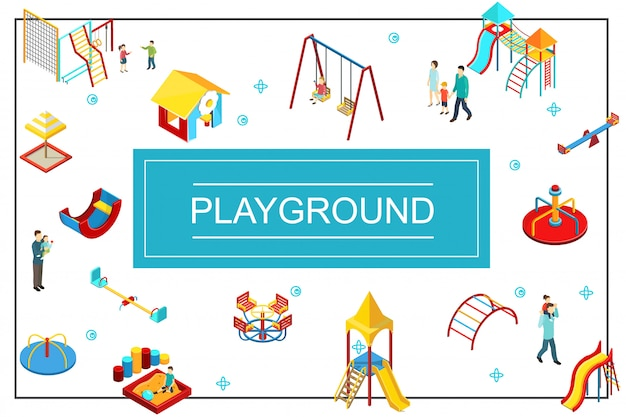 Isometric kids playground composition with seesaw swings playhouse sandbox slides colorful bars parents and children Free Vector