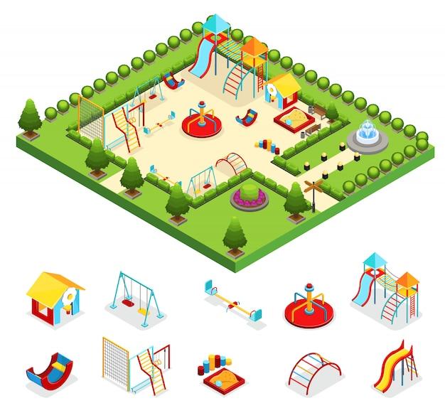 分離されたブランコサンドボックスカルーセルスライド噴水茂みの木と等尺性の子供の遊び場のコンセプト Premiumベクター