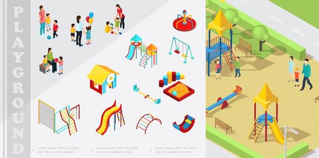 Композиция изометрической детской игровой площадки с игровыми домиками, горками, песочницей, качелями, лестницами, качелями, игрой родителей с детьми Бесплатные векторы