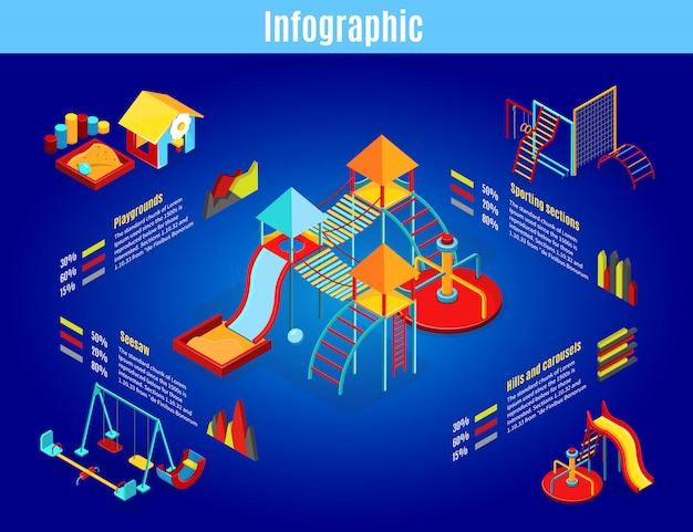 회전 목마 그네와 아이소 메트릭 어린이 놀이터 인포 그래픽 템플릿은 고립 된 샌드 박스 스포츠 섹션 다이어그램 그래프 슬라이드 무료 벡터