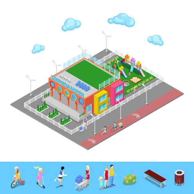 遊び場と子供と等尺性幼稚園。 Premiumベクター