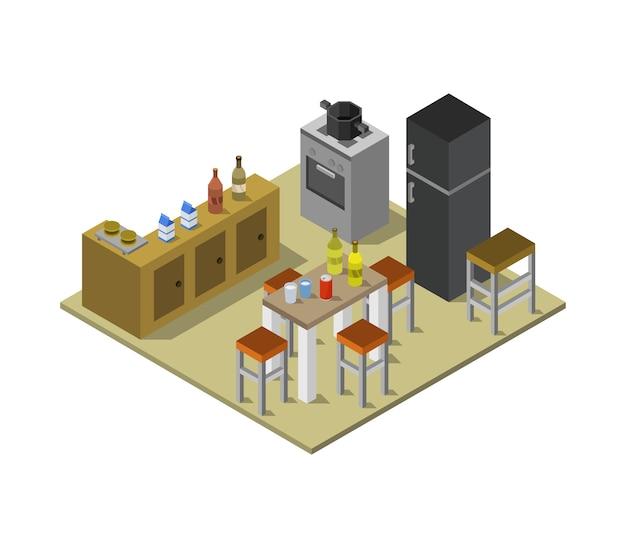 Изометрическая кухня Premium векторы