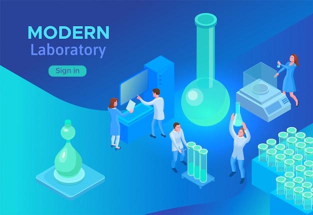 Isometric laboratory concept Premium Vector