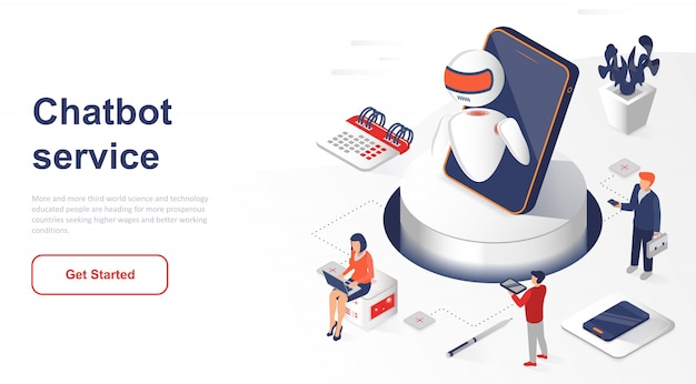Isometric landing page chatbot or artificial intelligence Premium Vector