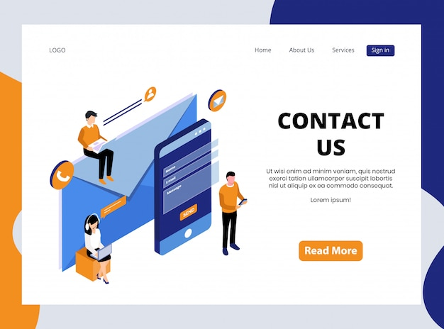 Isometric landing page of contact us Premium Vector